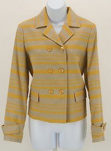 Talbots Talbots Tan Gold Striped Classic Double Breasted Blazer B351