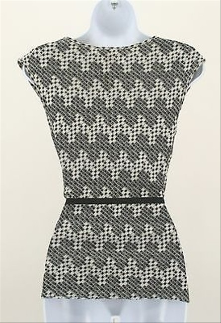 Express Black Gray Silver Metallic Piece Belted Wrap B357 Top Multi-Color