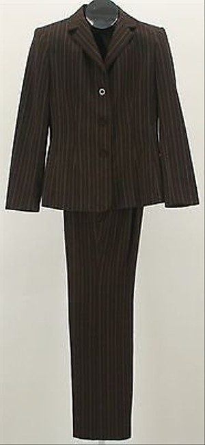 Style & Co Style Co. Blazer Pant Brown Cream Pinstripe Pant Suit B352