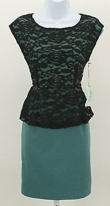 Other Kiss Cry Teal Black Lace Overlay Peplum Sleeveless B168 Dress