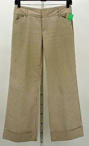 Old Navy Short Low Waist Brown Cream Striped Cuffed X B355 Pants