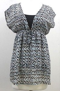 BCX Pc White Taupe Teal Print W Black Under Tank B71 Top Gray