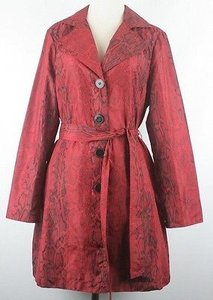 Chico's 1 Razzie Kitty Animal Trench B144 Trench Coat