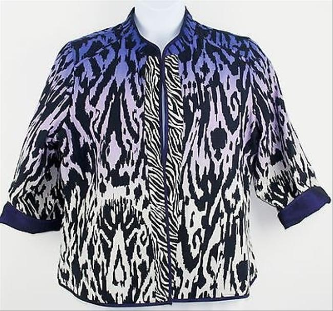 Other Reversible Purple Black White Blue Animal Print Blazer B190