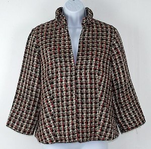 Chico's Chicos 0 Black Gold Red Cardinal Signie 34 Sleeve Blazer B240
