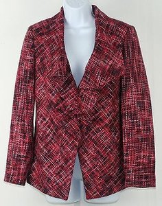 Chico's Chicos 0 Trimming Tweed Cataline Pink Purple Tweed Blazer B240