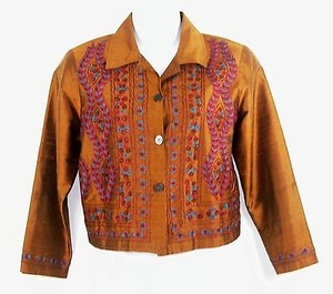 Coldwater Creek Coldwater Creek Pl Copper Brown Aqua Magenta Embroidered Silk Blazer B191