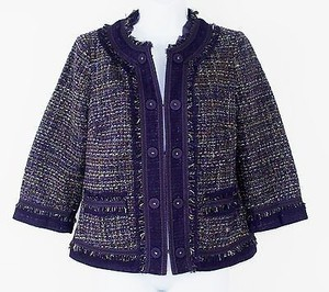 Chico's Chicos 0 Purple Cameel 34 Sleeve Tweed Fringe Blazer B239