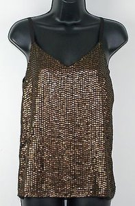 Chico's Black Label 0 Adjustable Strap Sequin B246 Top Brown/Bronze