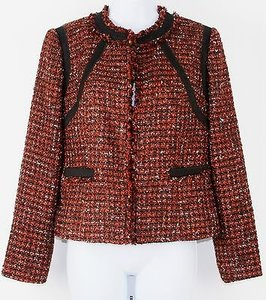 Chico's Black Label Chicos 00 Copper Black Tweed Fringe Blazer B239