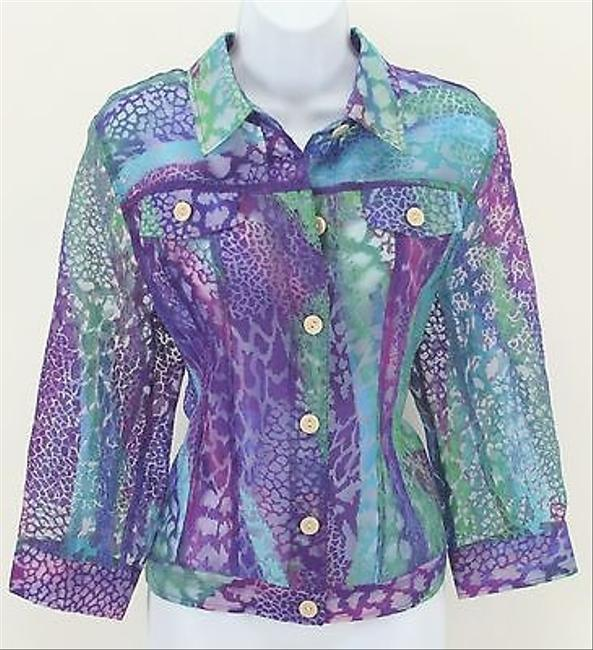 Other Linear Blue Green Burnout Animal Sheer Jean Style B301 Multi-Color Womens Jean Jacket