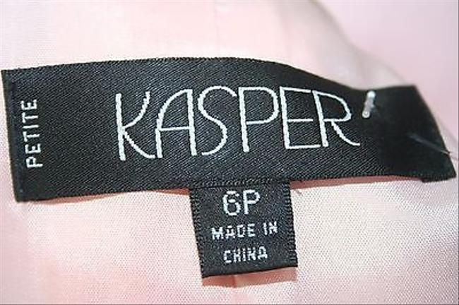 Kasper Kasper 6p Pink Dark Tan Lapel And Turn Up Cuffs Zip Front Blazer B194