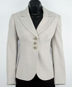 Le Suit Le Suit 6p Dune Eggshell Stripe Three Button Blazer B195
