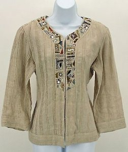 Chico's Chicos 1 Tan Gold Metallic Embroidered Beaded Rhinestone Blazer B351
