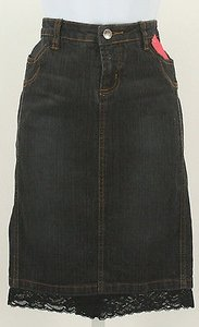Other Thalia 56 Denim Boho Lace Hem Jean B357 Skirt Black