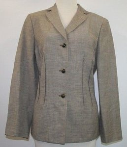 Le Suit Le Suit Brown Ivory Linen Blend Blazer B110