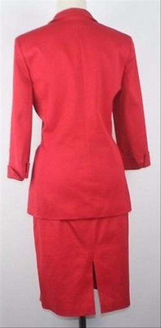 Ellen Tracy Ellen Tracy Red Ribbed Fabric Zip Front Piece Skirt Suit B06