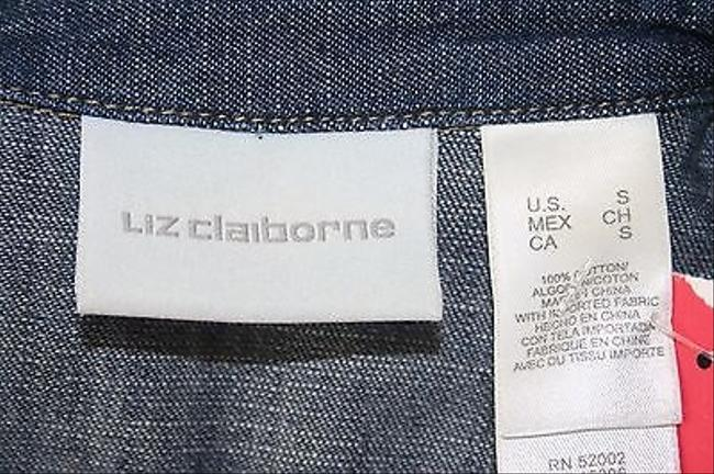 Liz Claiborne Liz Claiborne Blue Denim Tan Top Stitch Three Button Blazer B190