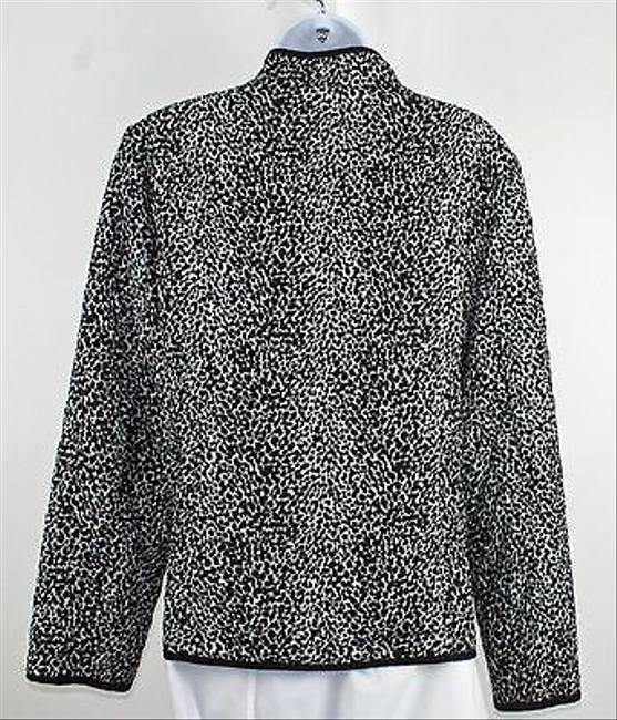 Requirements Requirements Black White Animal Quilted Zip Front Blazer B196