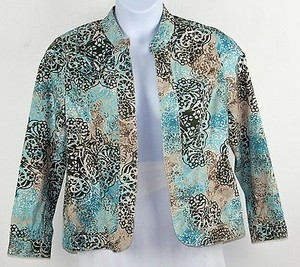 Chico's Chicos 1 Aqua Olive Tan Taupe Floral Print Open Front Blazer B191
