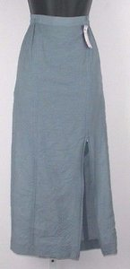 Citron Bamboo Elastic Waist Double Zipper Front B164 Skirt Blue Grey