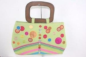 Other Tianni Summer Lime Multi Embroider Applique Button Wood Handle B200 Satchel in Lime Green