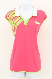 adidas Adidas Pink Lime White Short Sleeve Performance Golf Top B313