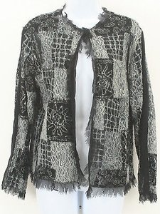 Chico's Chicos 1 Black Gray Frayed Sheer Blazer B313