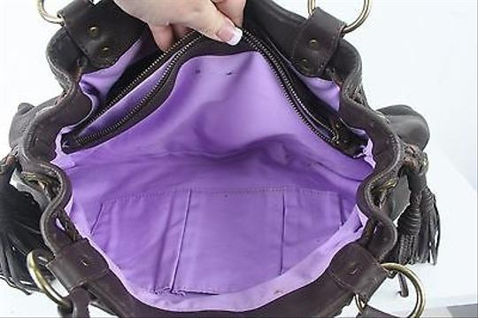 Isabella Fiore Cross Stitch Floral Pebbled Leather B252 Satchel in Brown Lavender