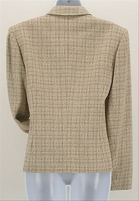 Talbots Talbots Tan Yellow Taupe Plaid Tweed Button Blazer B294