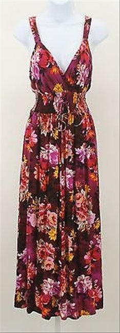 Multi-Color Maxi Dress by Other Mlle Gabrielle Magenta Orange Yellow Multi Floral Maxi B276
