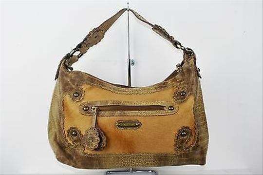 Isabella Fiore W Fur On Calfskin Inset Studded B252 Hobo Bag
