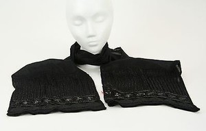 Chico's Chicos Black Label Sheer Black Beaded Sequin Scarf B152