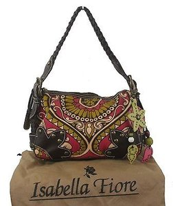 Isabella Fiore Brown Leather Floral Canvas Charm Satchel in Multi-Color
