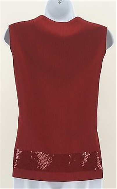 Doncaster Burgundy Sequin Sleeveless B317 Top Red