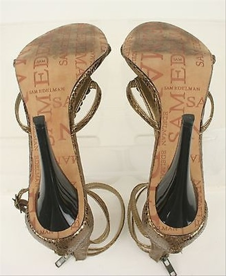 Sam Edelman Bronze Rivets Strappy Snakeskin Back Zip Heels B293 Pumps