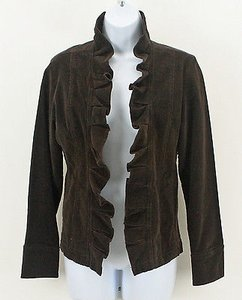 Lalique Lal Corduroy Ruffle Front Split Cuff B316 Brown Jacket