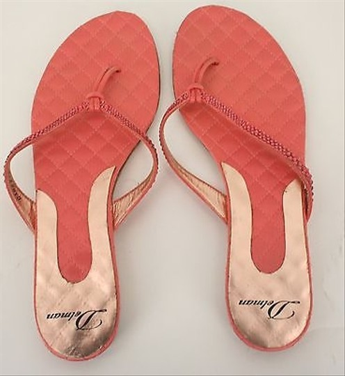 Delman 8m Rhinestone Quilted Satin Leather Low Wedge Flip Flop B314 Coral Sandals