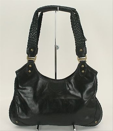 Cole Haan Leather Woven Straps And Detail B315 Satchel in Black