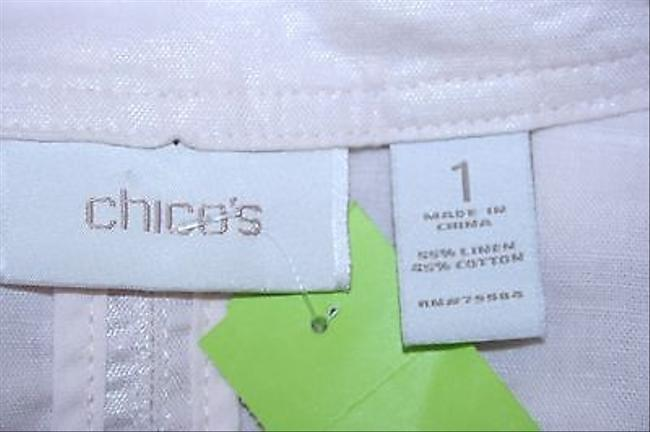 Chico's Chicos 1 Baby Pink Pleated Pockets Five Button Fine Linen Blazer B321