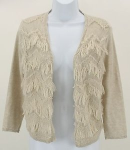 Chico's 0 Fringed Front 34 Sleeve Cardigan B284 Sweater