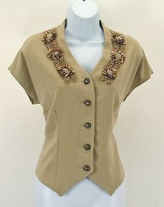 Twelve by Twelve Tan Beaded Top