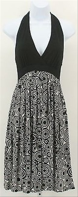 Maggy London short dress Multi-Color 6p Black White Empire Halter B303 on Tradesy