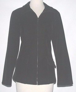 Gallery Stretch Velvet Zip Front B149 Black Jacket