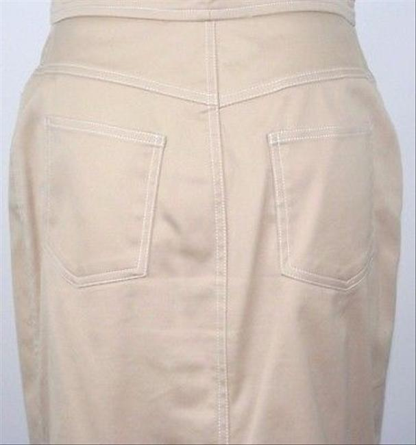 St. John St. John Sport Tan Polished Cotton White Top Stitched Skirt Suit B12