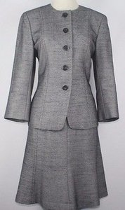 Dana Buchman Dana Buchman Ink Navy White Tweed Flared Skirt 34 Sleeve Spring Suit B12