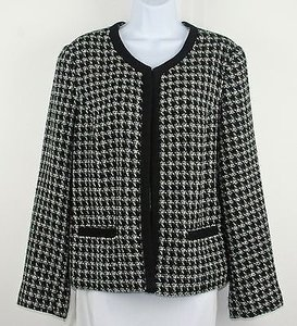 Croft & Barrow Croft Barrow Black White Gray Houndstooth Single Hook Blazer B196