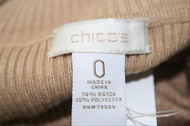 Chico's 0 Long Sleeve Turtleneck B238 Top Tan