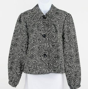 INC International Concepts Inc International Concepts Black White Swirl Design Button Blazer B196