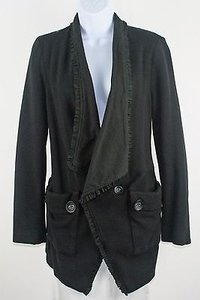 Free People People Sp Black Ruffle Edge Big Collar Lace Lined Womens Blazer B190